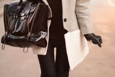 Love the coat, the gloves, the bag. Black and white for the win.
