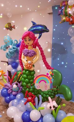 """Stunning """"Under the Sea"""" themed balloon decoration."""