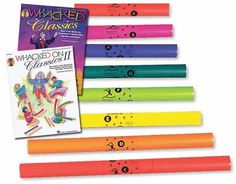 WHACKED ON CLASSICS I & II Books/CDs plus Boomwhackers - Play along with the masters! This fun set Includes: •Whacked On Classics I & II  These clever arrangements by Tom Anderson are written for Diatonic Boomwhackers with piano or CD accompaniment.  Parts are reproducible and each book includes information on the compositions as well as teaching tips. Paperbacks & CDs  •C Major Diatonic Boomwhacker Set