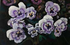 Pansies, Serie: Velvet Flowers, pastel on velvet, drawing, 2017, Ute Latzke