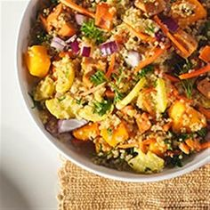 "Quinoa Salad with Winter Veggies and Buffalo Chicken Sausage | ""My spouse who doesn't like butternut squash or quinoa cleaned her plate!"""