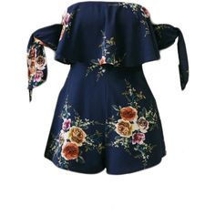 Off Shoulder Flounce Floral Printed Romper With Tie Sleeve (125 PEN) ❤ liked on Polyvore featuring jumpsuits, rompers, one piece, dresses, playsuits, jumpers, floral print romper, short romper, long-sleeve romper and floral romper