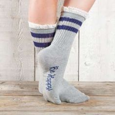 Retro Crew Socks in Grey & Navy
