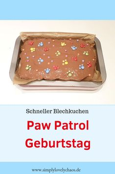 Paw Patrol Birthday - Sheet Cake Recipe - SIMPLYLOVELYCHAOS - Kindergeburtstag und Kindermottoparty Ideen - Here is a recipe for a quick sheet cake for a Paw Patrol theme party. Paw Patrol children's birthd - Paw Patrol Theme Party, Paw Patrol Birthday, Birthday Sheet Cakes, Diy Birthday Cake, Fish Recipes, Baby Food Recipes, Cookie Recipes, Torta Paw Patrol, Sheet Cake Recipes
