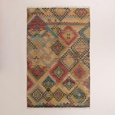 One of my favorite discoveries at WorldMarket.com: 5'x8' Boho Print Jute Kilim Area Rug
