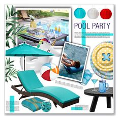 """pool party"" by nanawidia ❤ liked on Polyvore featuring interior, interiors, interior design, home, home decor, interior decorating, Hostess, Improvements, Dot & Bo and XVL"