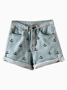 Anchor Embroidery Curling Denim Shorts | http://www.choies.com/product/red-lace-rose-tights