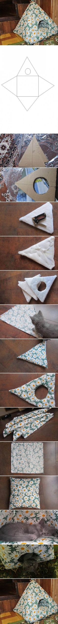 I found a cute idea for cat lovers, how to make a cat tent for your sweet kitty. All you need is a piece of cardboard, a canvas with a pattern you like (or you can ask the cat if she/he likes it&nb…
