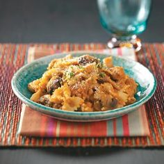 Sausage and Pumpkin Pasta Recipe -My family really enjoys this meal. Cubed leftover turkey may be substituted for sausage. Just add to the skillet with the cooked pasta for a fast meal. —Katie Wollgast, Florissant, Missouri