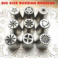 2016 NOVÉ 9pcs / NASTAVIŤ Najväčšie veľkosť ruský Tulip Stainless Steel Icing potrubia Trysky Tipy Ruskou tryska
