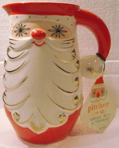 "Vintage 1960 Holt Howard Starry Eye Santa Pitcher 5 1/2"" Christmas 175"