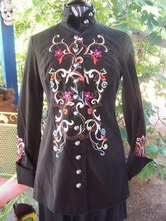 NWT~$225~Velvet Cotton Embroidered Military Style Long Jacket~S~Harolds #Harolds #LongJacket