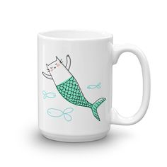 Mercat (Mermaid Cat) Coffee Mug - Animal Coffee Cup - Funny Mug - Cute Mug - Unique gift idea for cat lover and mermaid lover - Dishwasher safe - by HAPPY CAT PRINTS