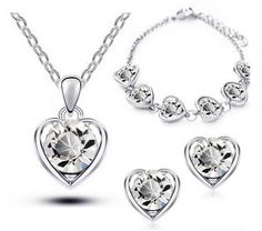 """Metals Type: Tin AlloyJewelry Sets Type: Necklace/Earrings/BraceletShape\pattern: Heart CHOOSE ACOLORIN DROP DOWN MENU Click""""Add To Cart""""button and we will"""