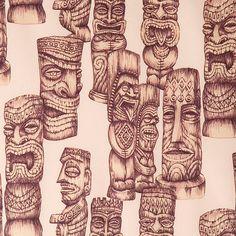 Tiki gods fabric - Alexander Henry 1 Yard Fabric. $9.50, via Etsy.