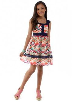 Sequin Hearts  Chevron Chiffon Dress Girls 7-16