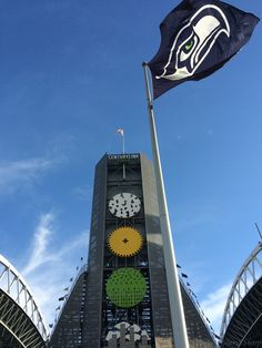 Seahawks flag flying high and proud in front of Century Link Field on a gorgeous day in September 2014.