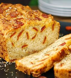 cheesy pepperoni pizza beer bread, see more at http://homemaderecipes.com/course/pastas-bread/16-homemade-bread-recipes/