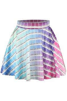 Plaid Elastic Waist Flared Mini Skirt - Beautifulhalo.com
