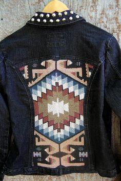 Studded tribal denim jacket by GloriousMorn