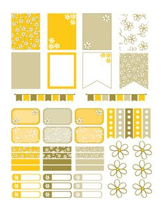 Yellow Floral Planner Stickers Printable by PrintThemAllStudio