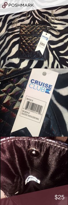 Cruise club quilted shoulder bag Shine for days, black quilted super thin shoulder bag. Chain shoulder strap. Nwt super cute. Offers welcome Cruise club Bags Shoulder Bags