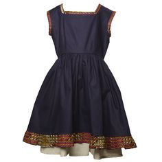 Evita dress  Price: £35.00        Description:    Evita has a gathered waist making it swing and flow. Frills and layering let a girl feel pretty in blue. A contemporary dress with a classic fit.