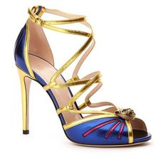 """Gucci 'Bette' Peep Toe Pump, 3 1/4"""" heel ($1,100) ❤ liked on Polyvore featuring shoes, pumps, blue, blue high heel shoes, blue leather pumps, gucci shoes, metallic pumps and ankle strap stilettos"""