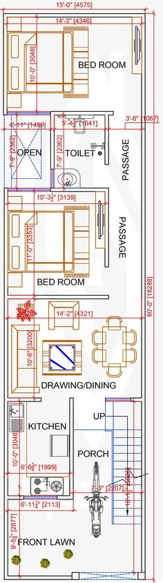 2bhk House Plan, Small House Floor Plans, Simple House Plans, Model House Plan, Home Design Floor Plans, Duplex House Plans, New House Plans, Bungalow House Design, Small House Design