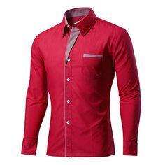 Mens Fashion Casual Stitching Color Slim Fit Long Sleeve Spring Autumn Turn-down Shirt 11 Colors at Banggood