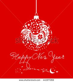 Chinese new year greeting card with rooster