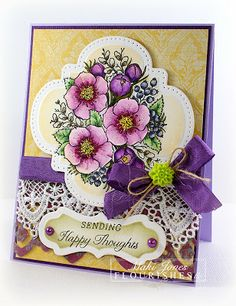 handmade card ... beautful boquet colored with Copics ... die cut labels ... Flourishes ...