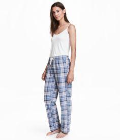Pyjamasbukse i flanell | Blå/Rosa rutet | DAME | H&M NO
