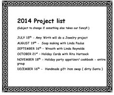 our schedule for 2014
