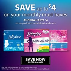 Save $4 in #coupons for Stayfree, Playtex Sport y Carefree Liners http://cbi.as/4vdsc Print your coupons before is gone #TipsFemeninos #ad #cbias #saving