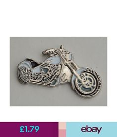 776bc6692f44 Motorcycle   Scooter White Chopper Motorbike Quality Enamel Pin Badge  ebay   Collectibles