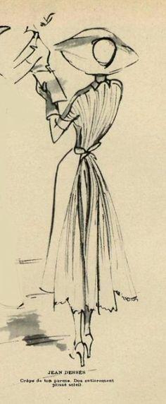 1949 Jean Dessès Croquis Fashion, Fashion Sketches, Fashion Drawings, Fashion Prints, Fashion Art, Vintage Fashion, Retro Fashion, Fashion Illustration Vintage, Illustration Art