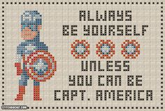 Unless You Can Be Captain America Cross Stitch Pattern