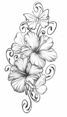 Lilly Flower Tattoo, Hibiscus Flower Tattoos, Tattoo Flowers, Drawing Flowers, Flower Drawings, Butterfly With Flowers Tattoo, Lilly Flower Drawing, Butterfly Thigh Tattoo, Butterfly Dragon