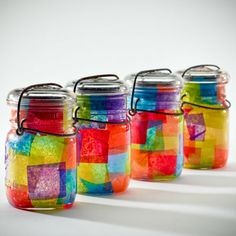 Tissue Paper Mason Jars - Could pass on the colors but improvide with better ones! Maybe B-Day tissue? Etc.