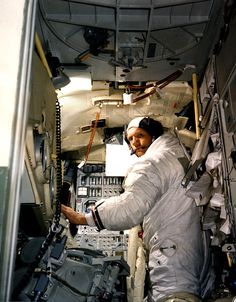 Neil Armstrong Pictures - Armstrong practices in Lunar Module simulator  NASA Kennedy Space Center (NASA-KSC)