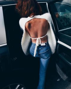 Sweater: tumblr white open back backless top backless jeans denim blue jeans fuzzy backless date