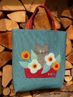 Wool applique bag