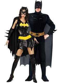 Batgirl and Batman Dark Knight Muscle Couples Costumes - Party City