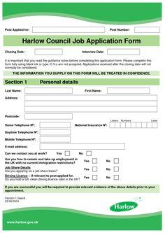 Job Application Form Template  Template And Print Templates