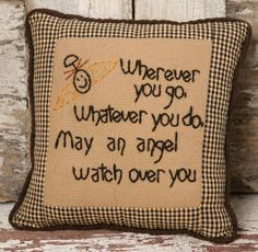 Country and primitive accent decor: Stitchery Pillow - Wherever you go...                                                                                                                                                     More