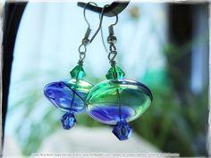 Green & Blue Swirl Blown Glass Earrings - Lampwork Hollow Rondelles, Green Blue Swarovski Crystals, Dangle Earrings