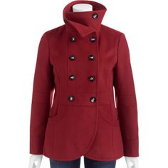 George Women's Plus-Size Double-Breasted Faux Wool Peacoat With Stand Collar