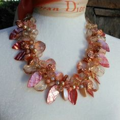 Please Pin if you like this new design! 👏👏👏 See What's New in the Bling Box! Check out my 20% OFF Sale!!!! Use Code: 20OFF Copper Statement Necklace, Festive Chunky Necklace, Unique OOAK Collar, Colorful Bib, Artisan Necklace, Mother of the Bride Statement Collar #bestbeadedbling