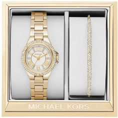 Michael Kors Mini Camille Watch Gift Set ($325) ❤ liked on Polyvore featuring jewelry, watches, gold, michael kors bangles, hinged bangle, bangle bracelet, sparkly watches and water resistant watches